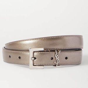 YSL Saint Laurent Skinny Metallic leather Belt